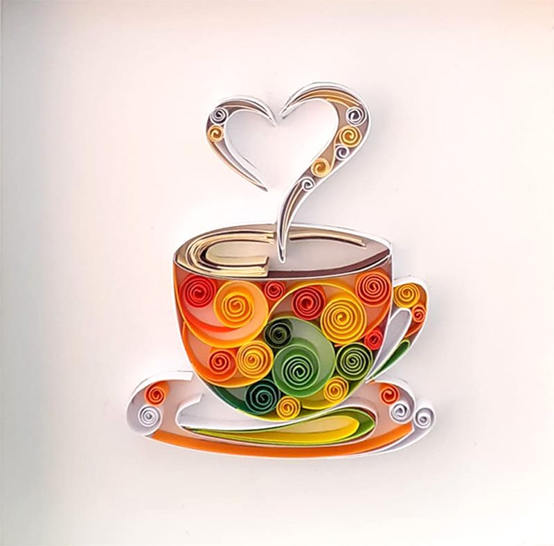 Handmade, Homedecor, Quilling Art, Paper Art, Quilling, Coffee, Cup, Good Morning, Gift
