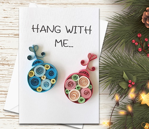 Christmas Card, Balls, Quilling Greeting Card, handmade greeting card, quilled cards, Greeting Card