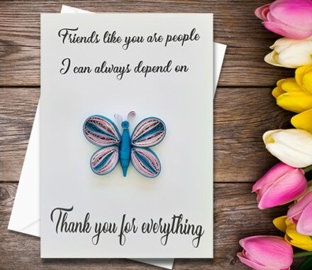 Thanking Card, Butterfly, Quilling Greeting Card, Handmade Greeting Card, Friendship Card