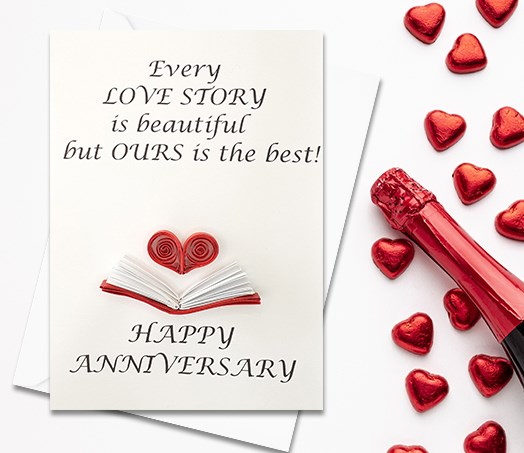 Anniversary Card, Quilled Greeting Card, Book, Story, handmade greeting card, Love card