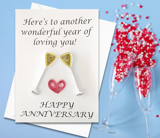 Anniversary Card, Quilled Greeting Card, Cheers, Glasses, handmade greeting card, Love card