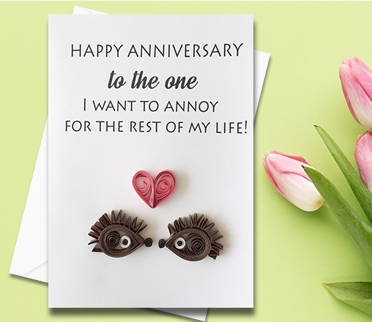 Anniversary Card, Quilled Greeting Card, Hedgehogs, handmade greeting card, Love card