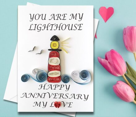 Anniversary Card, Quilled Greeting Card, Lighthouse, handmade greeting card, Love card