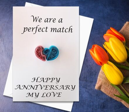 Anniversary Card, Quilled Greeting Card, Puzzled hearts, handmade greeting card, Love card