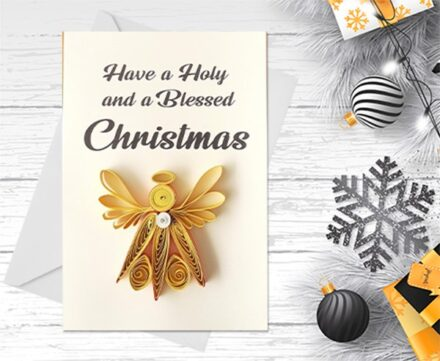 Christmas Card, Angel, Quilling Greeting Card, handmade greeting card, quilled cards, Greeting Card