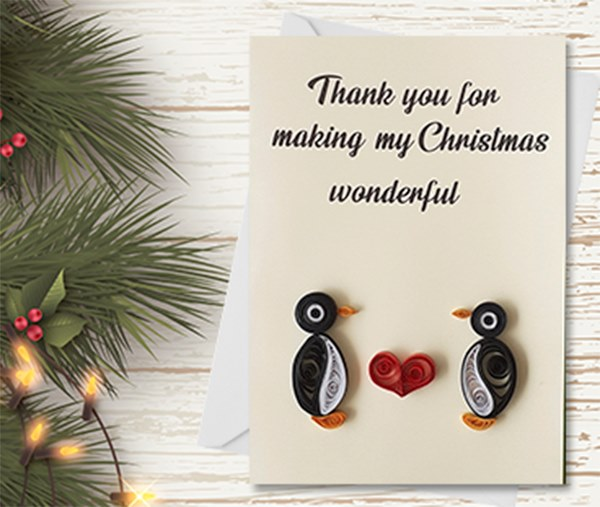 Christmas Card, Love, Heart, Penguins,Quilling Greeting Card, handmade greeting card, quilled cards, Greeting Card