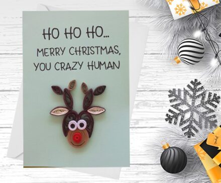 Christmas Card, Reindeer,Quilling Greeting Card, Handmade greeting card, quilled cards, Funny Card