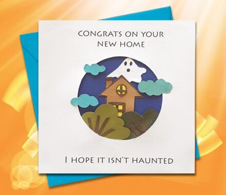 New Home Card, Paper Greeting Card, Handmade Card, Haunted