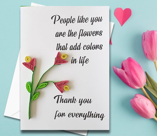 Thanking Card, Flowers, Quilled Greeting Card, Handmade Greeting Card, Friend Card, Friendship Card