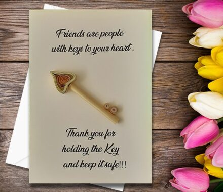 Thanking Card, Key, Quilled Greeting Card, Handmade Greeting Card, Friend Card, Friendship Card