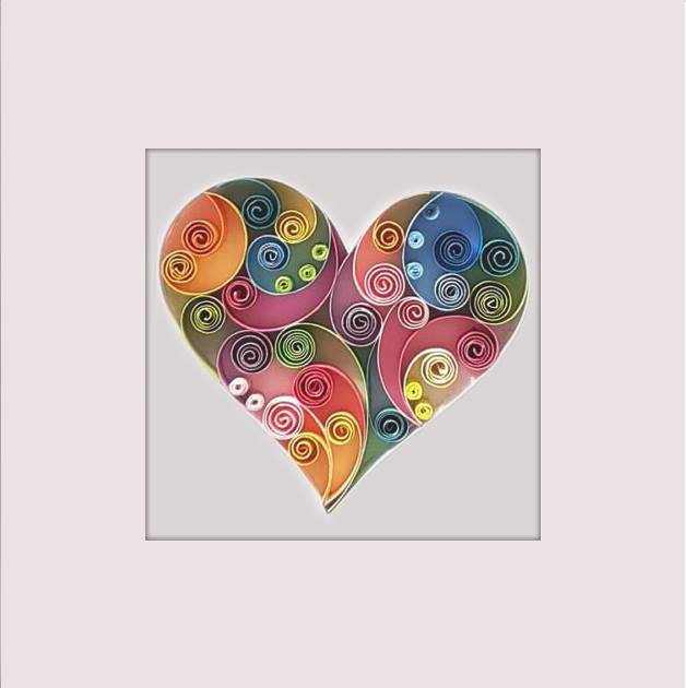 Colored Heart  - Quilling Paper Art, Wall Art, Home décor, Love, Gift, Anniversary, Valentines Day