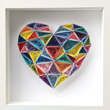Geometric Heart -  Quilling Paper Art, Wall Art, Home décor, Love, Gift, Anniversary, Valentine's Day