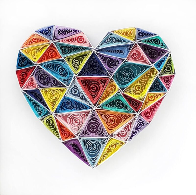 Geometric Heart - Quilling Paper Art, Wall Art, Love, Gift, Anniversary, Valentines Day