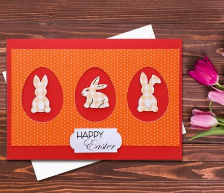 Easter Card, Happy Easter Card, Handmade, Easter Gift, Rabbits