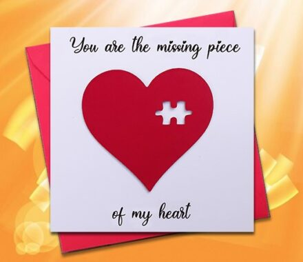 Valentines Card, Love Card, Romantic Card, Missing Piece, Puzzle, Handmade