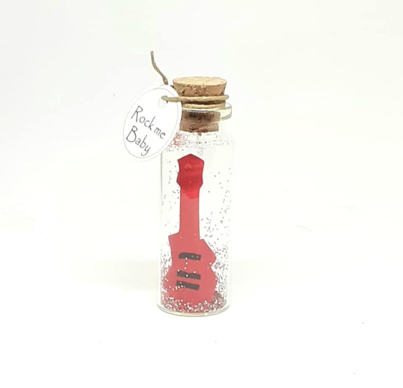 Guitar Gift, Birthday Card, Tiny Message Bottle, Personalised Gift, Birthday Gift, You rock my world, Rock Guitar, Electric Guitar
