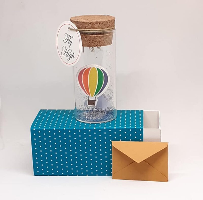 Message Bottle, Birthday Card, New born Card, Airballoon, Tiny Message Bottle, Motivation Card, Miniature, Birthday Gift, Fly High