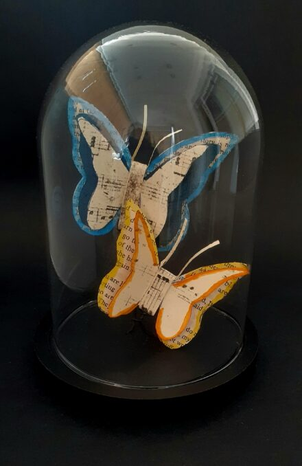 Butterfly Glass Cloche, Glass Dome Art, Book Art, Insects Gift, Glass Dome, 3d Paper Art