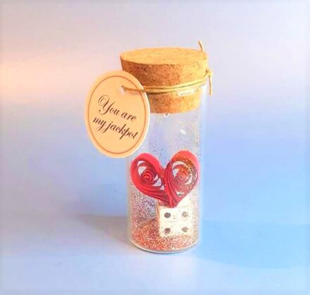 Love Gift, Love Card, Tiny Message Bottle, You are my jackpot, Personalised Gift, Anniversary Card, Valentines Card, Birthday Gift, Dice