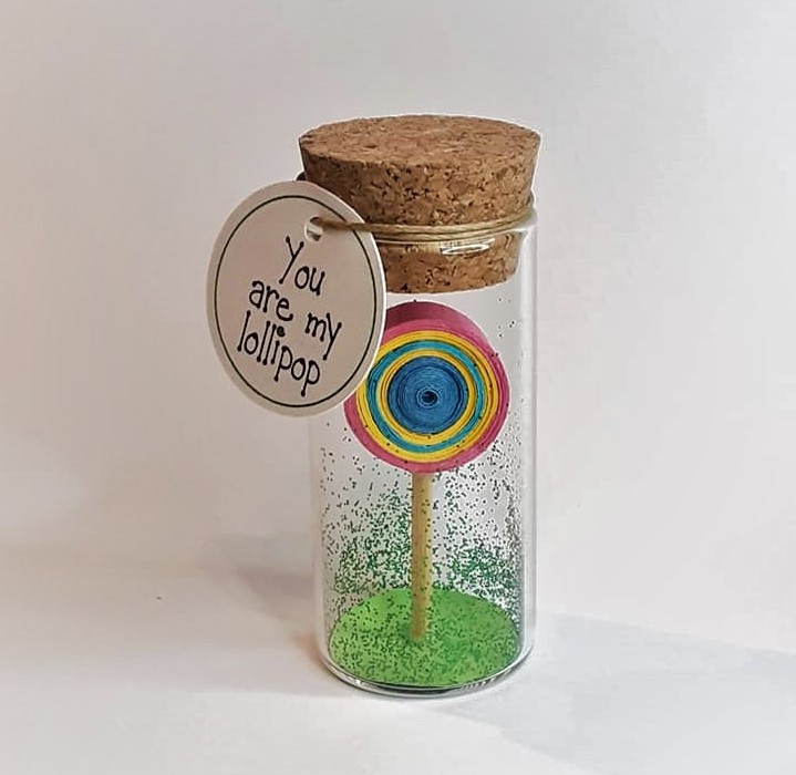 Love Gift, Tiny Message Bottle, Lollipop, Personalised Gift, Anniversary Card, Valentines Card, Vial Message