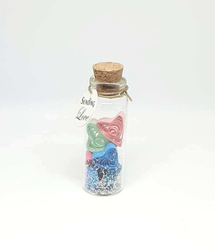 Love gift, Quilled tiny hearts, Birthday Card, Tiny Message Bottle, Personalised Gift, Birthday Gift, Gift for him, Gift for her