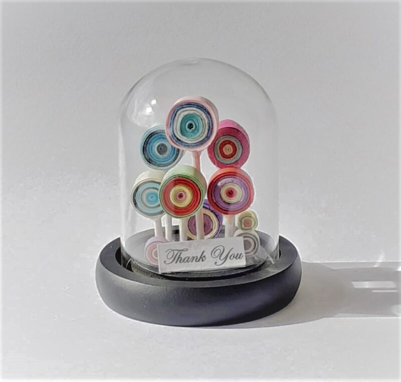 Mini Cloche Gift, Lollipop Forest, Glass Cloche, Thank you Card, Mother's day gift, Birthday Gift, Glass Dome, Quilling Paper Art