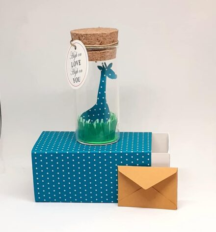 New born Card, New born gift, Giraffe, Tiny Message Bottle, Just for you Gift, Personalised Gift, Funny Card, Thank You Card