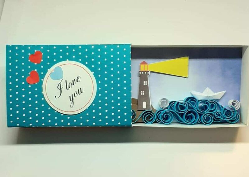 Message in a Box, Matchbox Gift, Diorama Scene, Lighthouse, Love Gift
