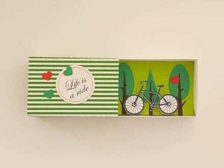 Message in a Box, Paper Art, Matchbox Gift, Diorama Scene, Bicycle, Life is a ride