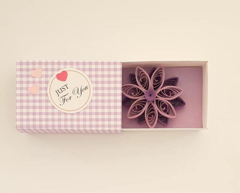 Message in a Box, Paper Art, Matchbox Gift, Diorama Scene, Purle  flower gift