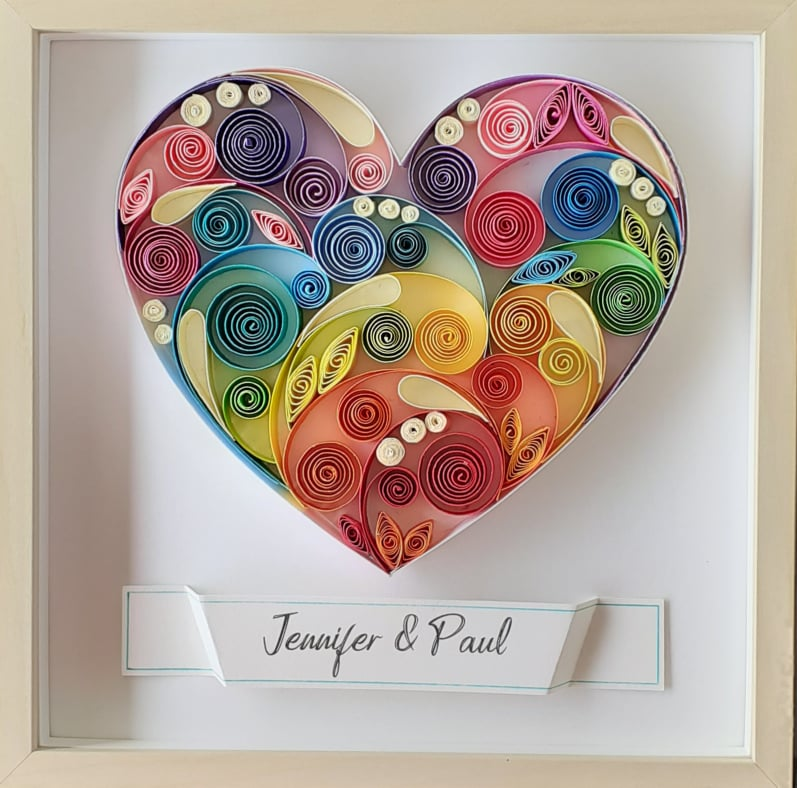 Colored Heart Art, Personalised Anniversary Gift, Love gift, Paper Quilling Art