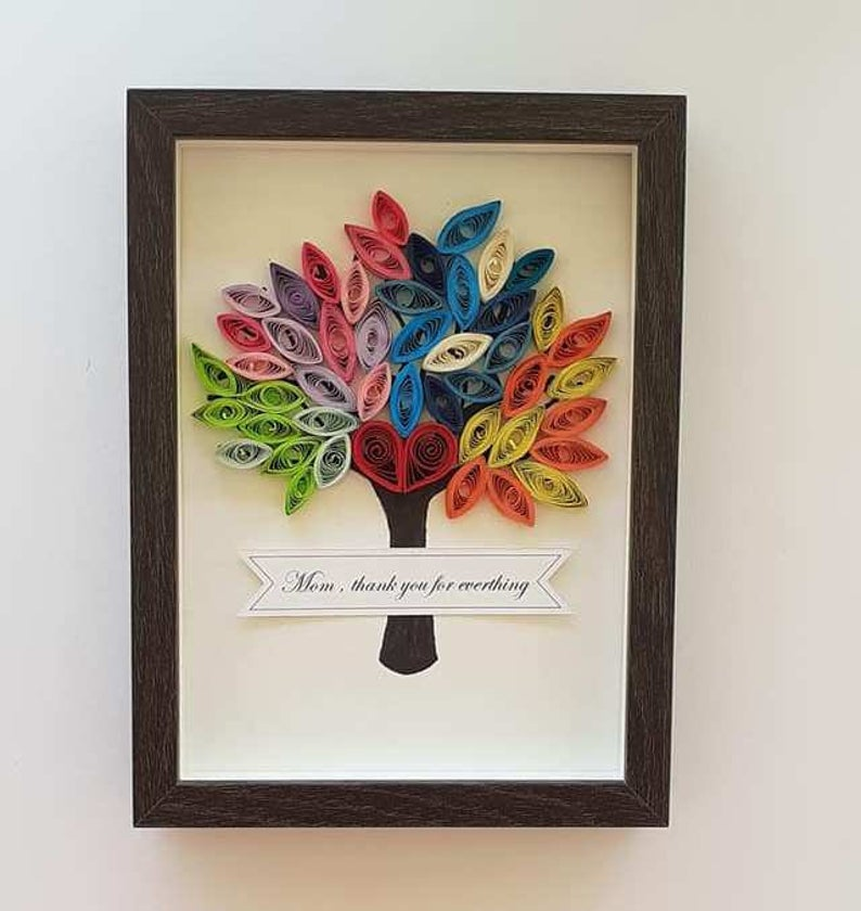 Gift for mom, Paper Art, Quilling Tree, Seasons tree, Mother Day Gift, Card for Mom