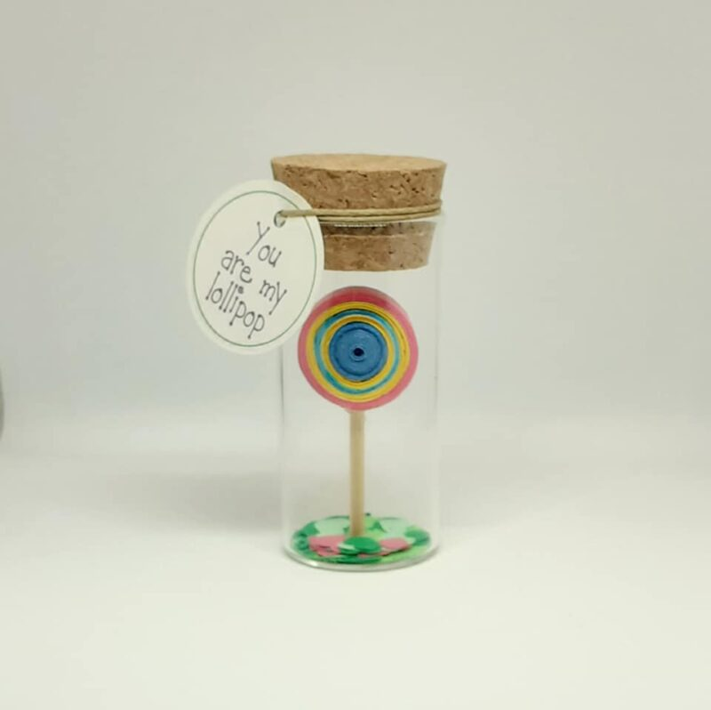 Love Gift, Tiny Message Bottle, Lollipop, Personalised Gift, Anniversary Card, Valentines Card, Vial Messages