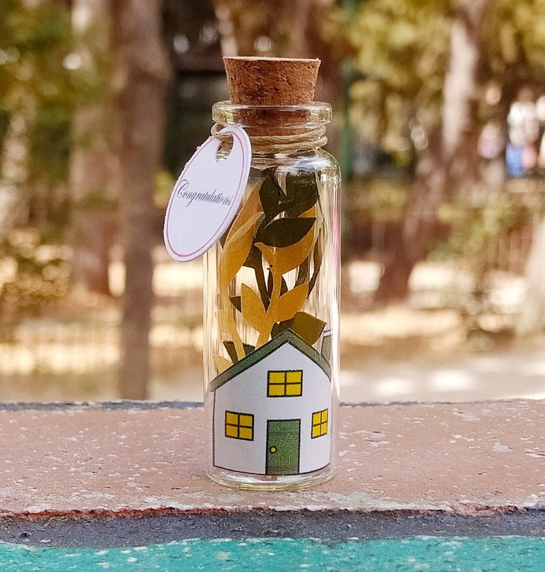 New house Gift, New house Card, New neighbor gift, Tiny Message Bottle, Miniature Gift, Diorama Gift