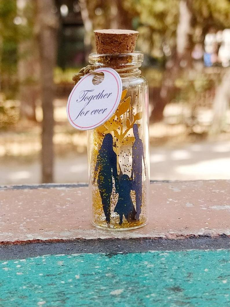 Wishing Message Bottle, Miniature Gift, Diorama, Family Gift, Parents Anniversary